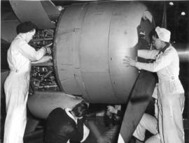 Women go to work at the Sea Island plant of Boeing aircraft to help build Catalina PB4s