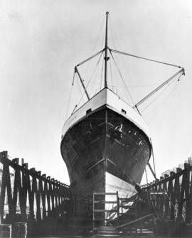 "[Bow of S.S. ""Camosun"" in dry dock]"