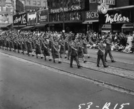 Female soldiers marching in 1953 P.N.E. Opening Day Parade