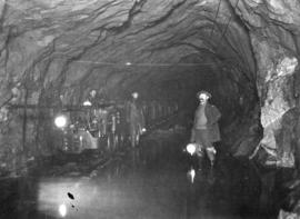 "Lake Buntzen tunnel enlargement [showing] train load of ""muck"" leaving tunnel"