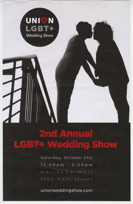 2nd annual LGBT+ wedding show : Saturday, October 21st : Heritage Hall, 3102 Main Street