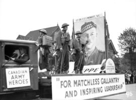 Lt. Col. C. C. I. Merritt, V.C. poster on parade float, World War II parade on Burrard Street