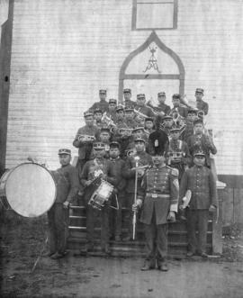 [Sechelt Indian marching band at the blessing ceremony of a new seminary]