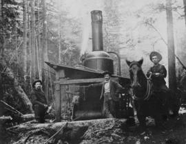 [Donkey engine, horse, and logging crew]