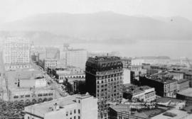 "Looking N. over Burrard Inlet, showing ""The Lions.""  Vancouver, B.C."