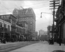 Looking east on Hastings Street from Homer Street showing sidewalks filled with people