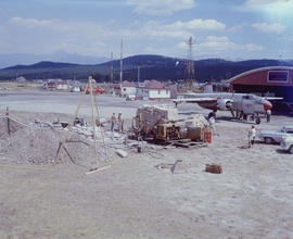 [Water bomber, fire control chemicals and equipment at the Cranbrook Airport]