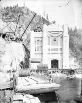 [Exterior view of construction of Buntzen Lake Power Plant number two]