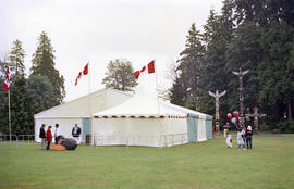 White and blue event tent at Canada Day celebration