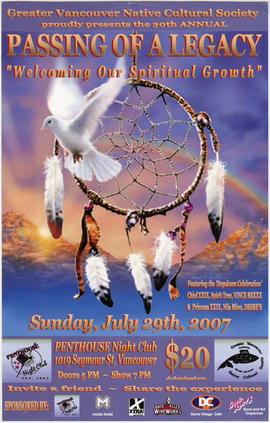 Greater Vancouver Native Cultural Society proudly presents Passing of a Legacy : Sunday, July 29t...