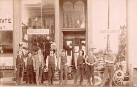 [Group portrait in front of Scoullar and Co. Hardware - 159 Cordova Street]