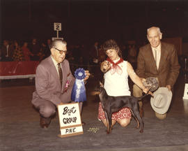 Best in Group award being presented at 1974 P.N.E. All-Breed Dog Show [Miniature Pinscher?]
