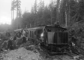 Wreck on the Pacific Great Eastern Railway (at mile 6.5 North Shore District, P.G.E.R. 1 1/4 mile...