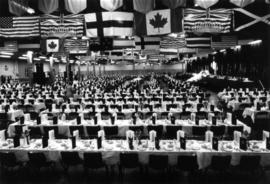 Prince Phillip [sic] banquet : [tables and place settings in Pacific Showmart building]