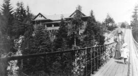 [Mrs. Buswell and daughter on the Capilano Suspension Bridge]