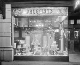 Burns Drug Store [732 Granville Street] [exterior view of window display]