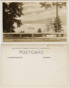 View from Prospect Point, Stanley Park, Vancouver, B.C. showing monument to S.S. Beaver