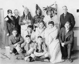Group photograph of Musqueam First Nations and UBC Alumni Association members for presentation of...