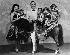 Watkins Famous Chimps : [publicity photo of circus performers, chimpanzees, and pony]