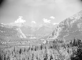 [View of the Banff Springs Hotel and the Bow River Valley]