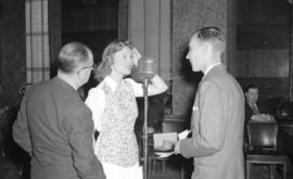 [Anna Neagle being interviewed at the Hotel Vancouver]