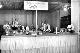 R.E. Bridgman booth, Horticultural bldg, 1963 : [Gadjo flower fashionere display of flower arrang...