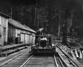 Green Point Logging Co. Ltd. [rail speeder at camp]