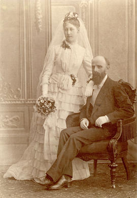 [Studio wedding portrait] Hilma Wigart and William Scott Price