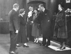 [Alderman and Mrs. Birt Showler greet H.R.H. Princess Elizabeth and H.R.H. Philip Duke of Edinburgh]