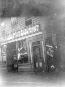 [Exterior of The Rustic Dining Rooms Lodging (house) at 318 Cordova Street]