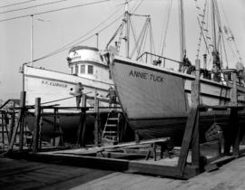 "[The ""Annie Tuck"" and ""B.C. Clipper"" in dry dock]"