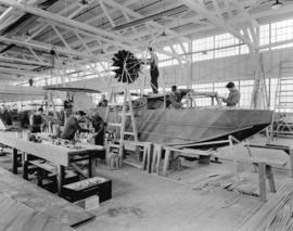 "Boeing Aircraft Co. of Canada, flying boat production room showing construction of C204, ""Th..."