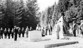 """Dedication of Cenotaph, Gibson's Landing, B.C. (Placing of Wreath)"""