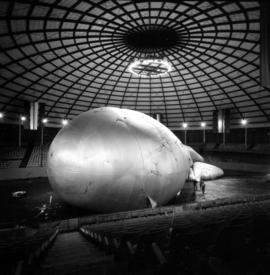 Barrage balloon being inflated in Agrodome