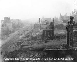 Looking down Columbia St. from top of Burr block [after fire of September 10, 1898]