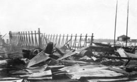 [The ruins after the fire at Wallace Shipyards]
