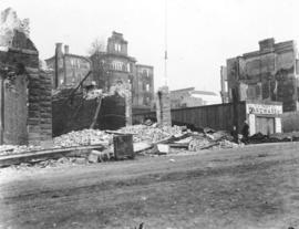 [T.J. Trapp and Company Hardware shed among destroyed buildings after fire of September 10, 1898]
