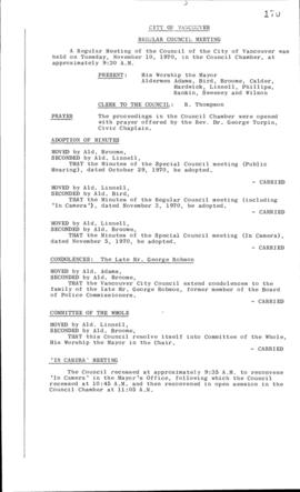 Council Meeting Minutes : Nov. 10, 1970