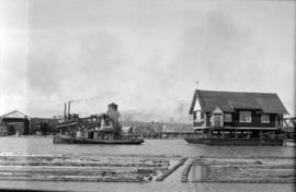[Baptist Church on a barge on the Fraser River]