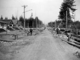 [45th Avenue looking east from Larch Street showing sewer construction]