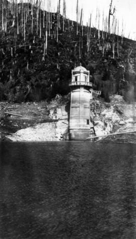 [View of water intake tower] on Coquitlam Lake