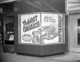 "[Window display at the Strand Theatre advertising ""The Last Chance""]"