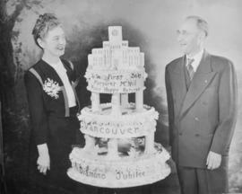 "Margaret Florence McNeil and S.G. ""Pete"" Brown, with Vancouver's Diamond Jubilee Cake"