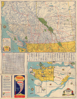 Road map of British Columbia and Alberta, illustrated map of Vancouver and vicinity, map cover, a...