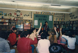 Paul Yee with students at Grandview Elementary School, Vancouver