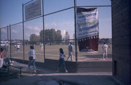 City of the Century banner at baseball diamond
