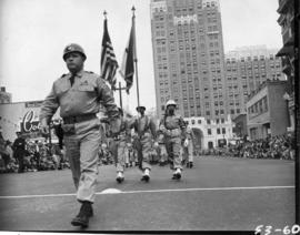 American armed services marching in 1953 P.N.E. Opening Day Parade