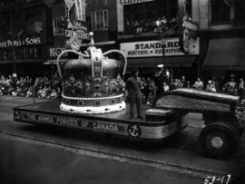 Armed Forces of Canada float in 1953 P.N.E. Opening Day Parade