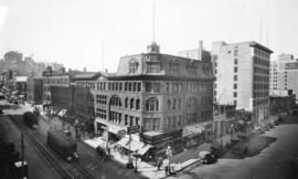 [View of the southwest corner of Granville Street at Hastings Street]