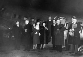 [Passengers prior to boarding an inaugural passenger service of Trans-Canada Airline]